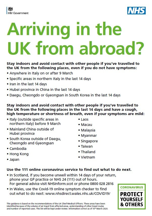 Arriving in the UK from abroad? (A5 leaflet)