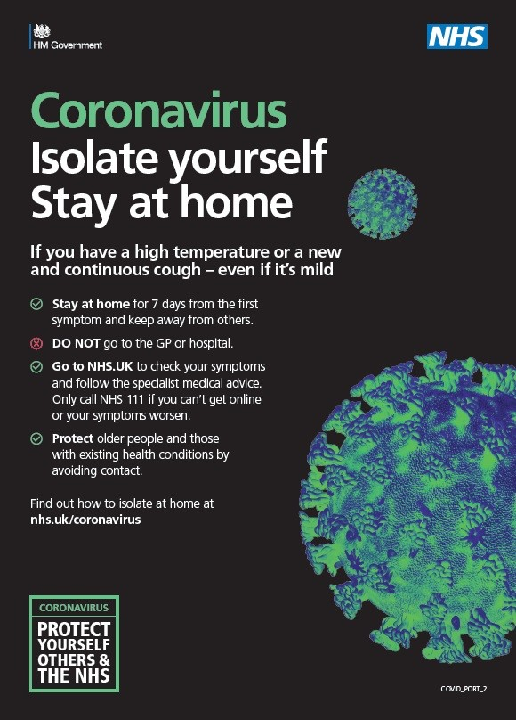 Coronavirus - isolate yourself - stay at home (A5 leaflet)
