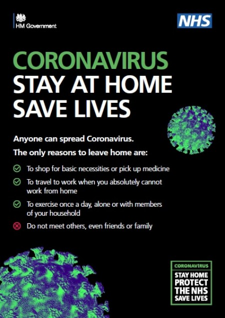 Coronavirus - stay at home (A4 poster)