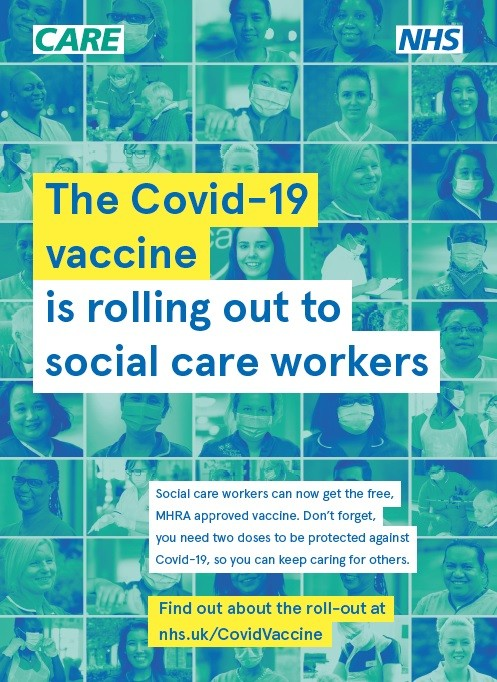 The COVID-19 vaccine roll-out is starting - social care workers (A4 poster)