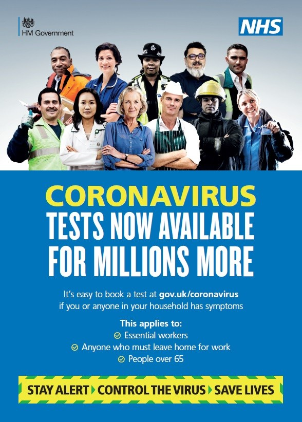 Coronavirus - tests now available for millions more (A4 poster)