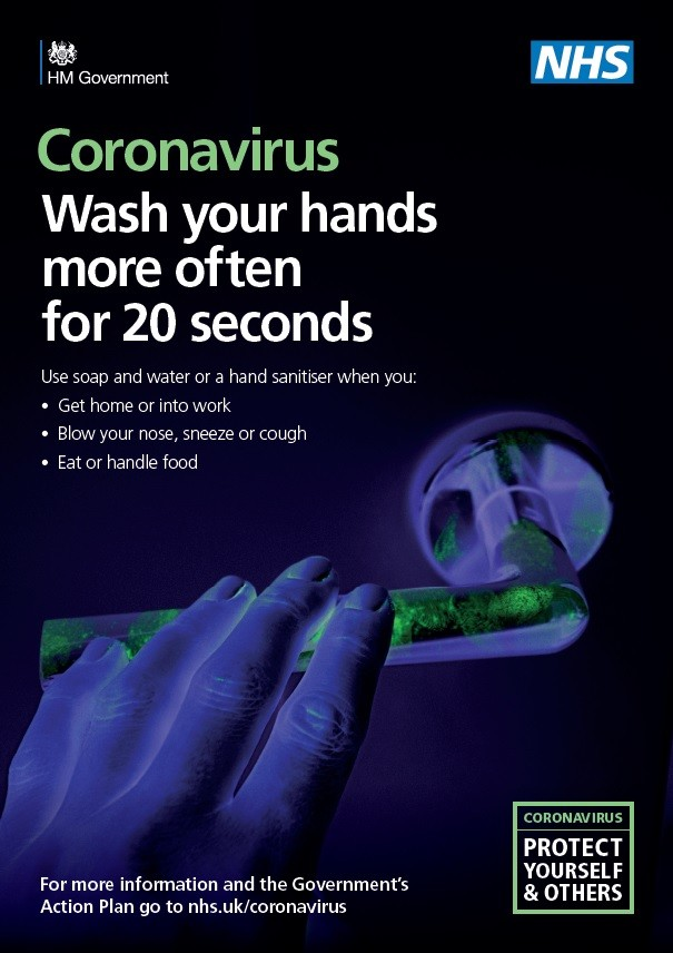 Coronavirus - wash your hands more often for 20 seconds (A4 poster)