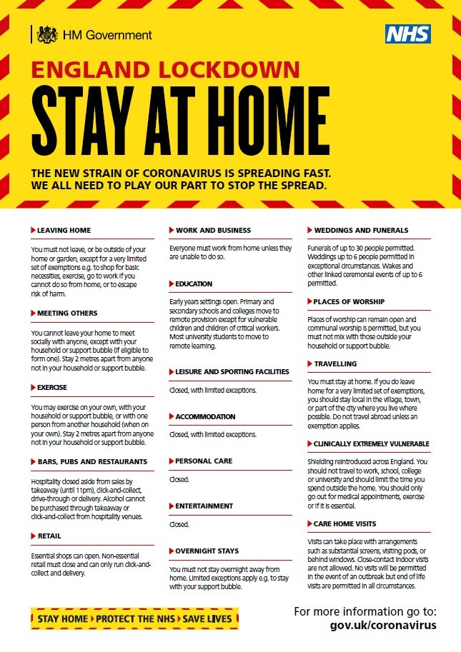 England lockdown - stay at home (A4 poster)