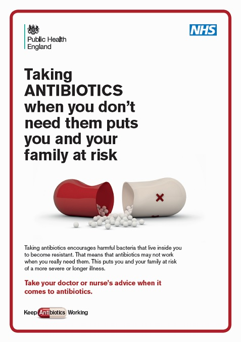 Taking antibiotics when you don't need them puts you and your family at risk (doctors leaflet)