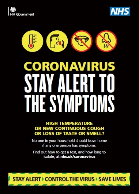Coronavirus - stay alert to the symptoms (A4 poster)