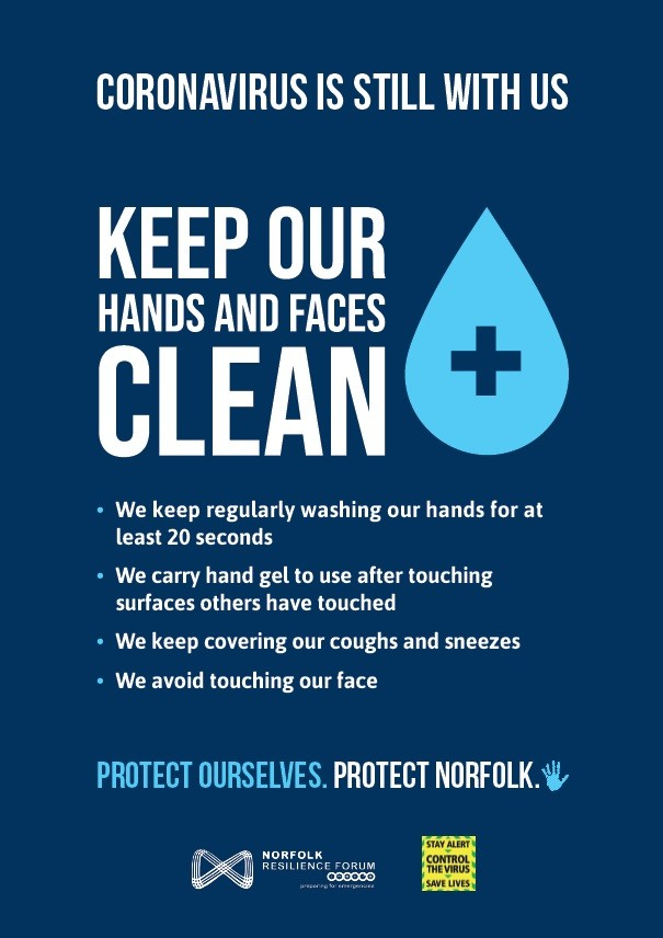 Keep our hands and faces clean (A4 poster)