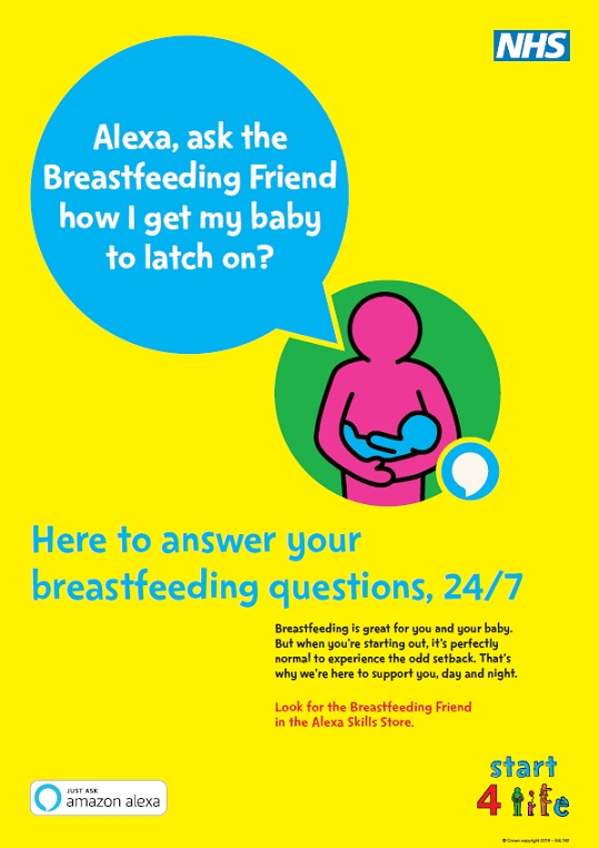 Alexa, ask the Breastfeeding Friend how I get my baby to latch on? (A3 poster)