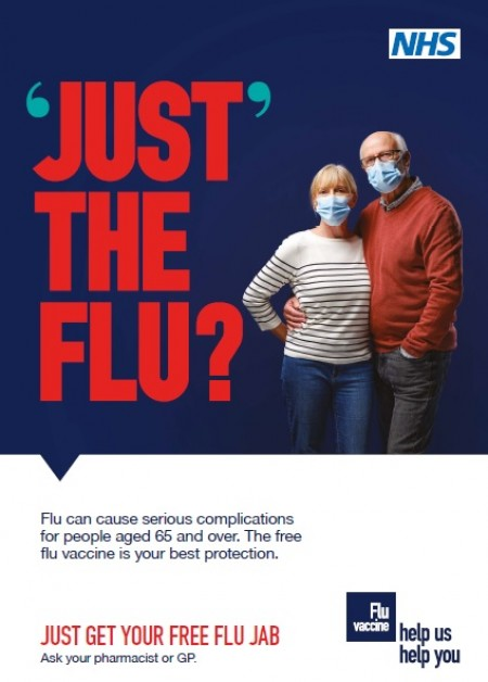 Just the flu? Over 65s with masks (A4 poster)